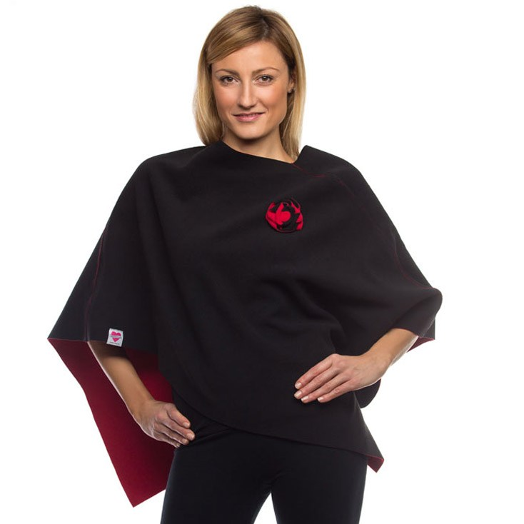 Wrapped In Love Black/paprika Reversible poncho