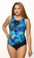 Style THE 1008-60/746-409 -  T.H.E. Mastectomy Draped Tank Swim Suit High Neckline
