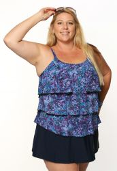 Style THE 43-80/750 -  T.H.E. Mastectomy 3 Ruffled Swim Tank - Camouflage - QUEEN SIZE