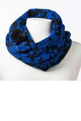 Style WILIS 100 -  Royal Blue and Black Floral Print Infinity Scarf