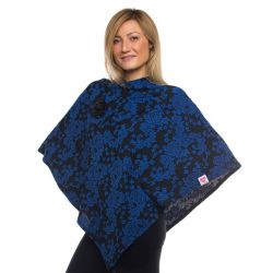 Style WILP 102 -  Blue & Black Floral Print Chemotherapy Port Accessible Poncho