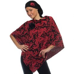 Style WILTSBP 403 -  Coral/black Floral Poncho and Head Wrap Set