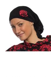Style WILH 101 -  Coral/Black Rosette Chemotherapy Head Wrap