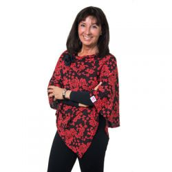 Style WILP 101 -  Coral and Black Floral Print Poncho