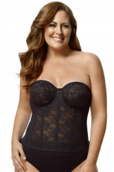 Style 6621/SALE -  Elila Full Cup Strapless Long Line Bra - BLACK - 40C - NOT POCKETED