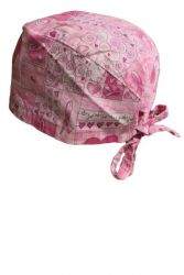 Style SCH 001 -  Pink Heart/Breast Cancer Ribbon Scrub Cap