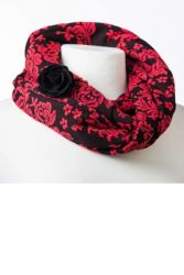 Style WILIS 101 -  Coral and Black Floral Print Infinity Scarf