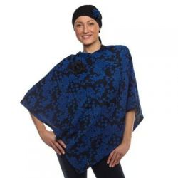 Style WILTSBP 402 -  Royal Blue/Black Floral Poncho and Cancer Head Wrap Set