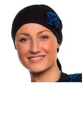 Style WILH 102 -  Royal Blue/Black Rosette Chemotherapy Head Wrap