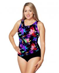 Style THE 1008-60/762/409 -  T.H.E. Mastectomy Draped Waist Line One Piece Bathing Suit
