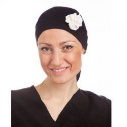 Style WILH 104 -  Black Chemotherapy Head Wrap with Cream Rosette