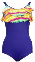 Style 1755-53/Rainbow - Ceeb Mastectomy Ruffled Swimsuit