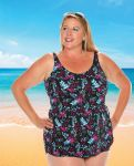 Style 965-80/745 -  T.H.E. Mastectomy Sarong Swimsuit - TUMMY SLIMMER-QUEEN SIZE