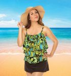 Style THE 43-60/741 -  T.H.E. Mastectomy 3 Ruffled Swim Tank - Camouflage
